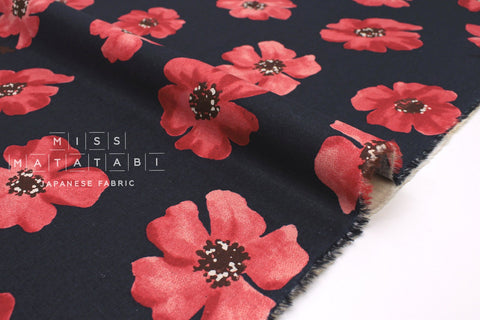 Japanese Fabric Spring Flowers - navy, red - 50cm