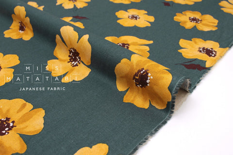 Japanese Fabric Spring Flowers - teal green - 50cm