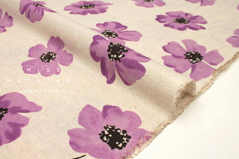 Japanese Fabric Spring Flowers - natural, purple - 50cm
