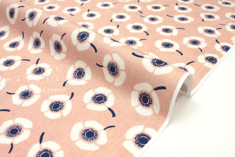 Japanese Fabric Nina Anemone Flowers - pink, blue - 50cm