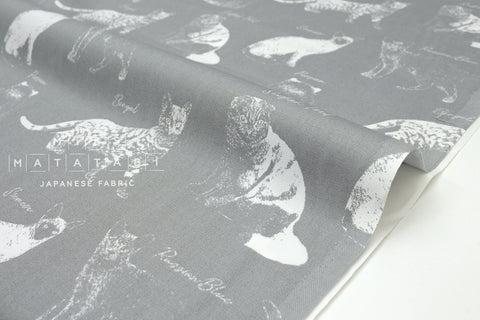 Japanese Fabric Nina Cats - grey, white - 50cm