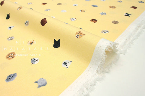 Japanese Fabric Kotorinuno Canivore & Omnivore - pale yellow - 50cm