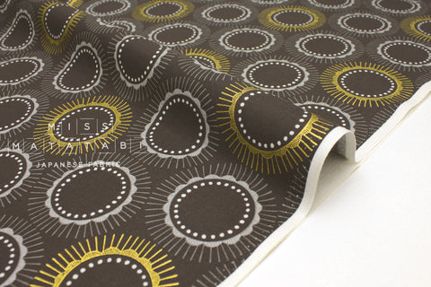 Japanese Fabric Cotton + Steel Kibori Newsprint - Tara - Charcoal, metallic gold - 50cm