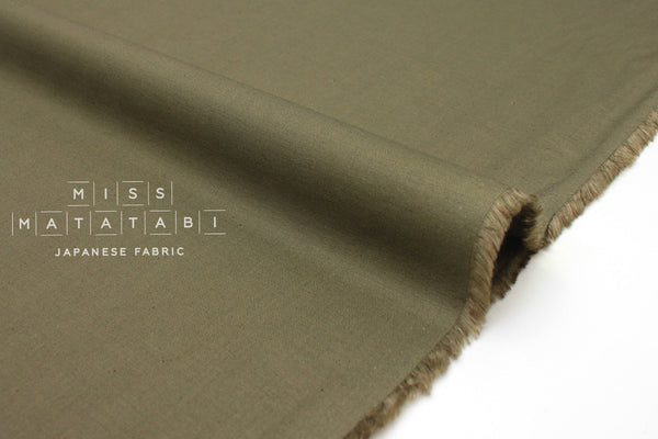 Japanese Fabric Linen Blend Solids - olive green - 50cm