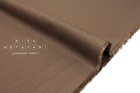 Japanese Fabric Linen Blend Solids - chocolate - 50cm