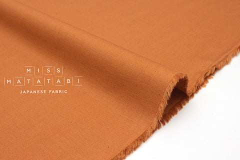 Japanese Fabric Linen Blend Solids - ochre - 50cm