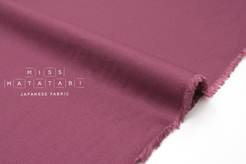 Japanese Fabric Linen Blend Solids - berry - 50cm