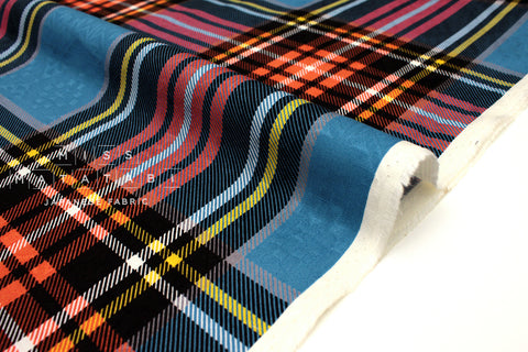 Japanese Fabric Jacquard Plaid - blue, red - 50cm