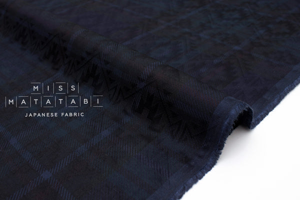 Japanese Fabric Jacquard Plaid - indigo blue - 50cm