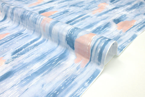 Japanese Fabric Water Color Life Double Gauze B - blue, peach pink - 50cm