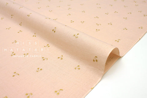 Japanese Fabric Kobayashi Cherry Double Gauze -  pale pink, metallic gold - 50cm