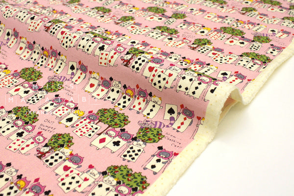 Japanese Fabric Cat of Spades - pink -  50cm