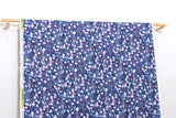 Japanese Fabric Cotton + Steel Snow Flowers - kasumisou - violet - 50cm