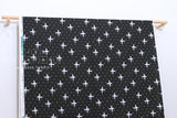 Japanese Fabric Cotton + Steel Snow Flowers - winter birds - black - fat quarter