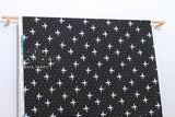 Japanese Fabric Cotton + Steel Snow Flowers - winter birds - black - 50cm