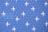 Japanese Fabric Cotton + Steel Snow Flowers - winter birds - sky - fat quarter
