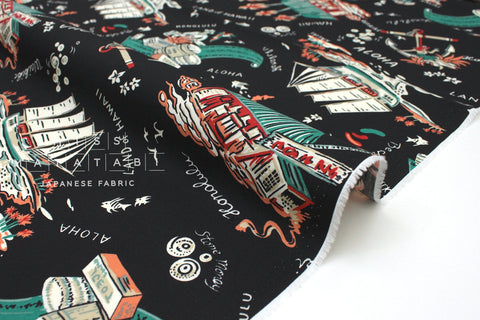 Japanese Fabric Island Life Rayon - black, coral, green - 50cm