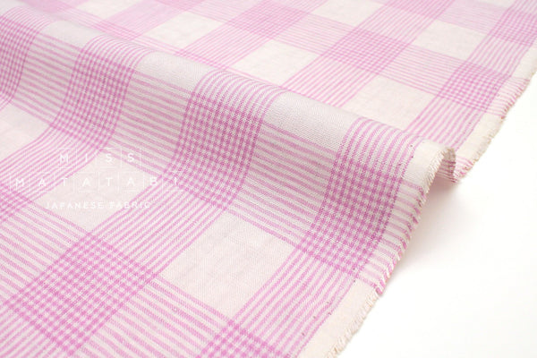 Japanese Fabric 100% linen plaid - lilac pink -  50cm