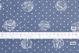 Japanese Fabric 100% linen Scribble Dots - blue -  50cm