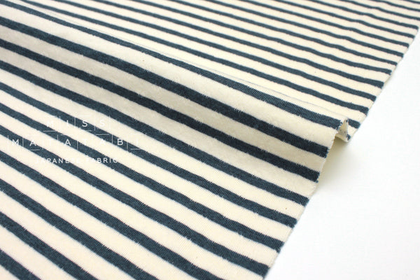 Japanese Fabric Stripes double knit - navy blue, cream - 50cm