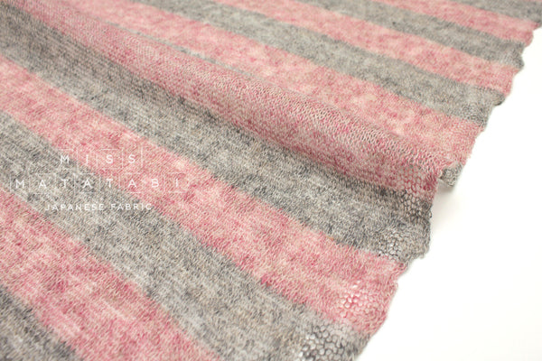 Japanese Fabric Linen Wool Knit - grey, pink - 50cm