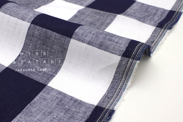 Japanese Fabric 100% linen Buffalo Check - navy blue, white -  50cm