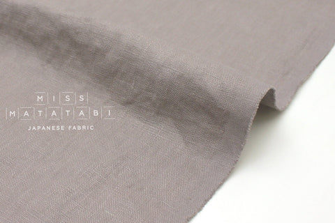 Japanese Fabric 100% washed linen - taupe -  50cm