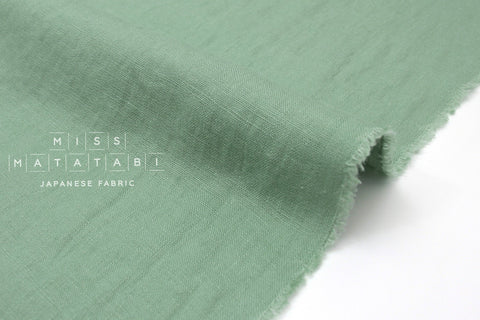 Japanese Fabric 100% washed linen - sage green -  50cm