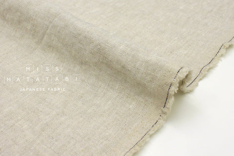 Japanese Fabric 100% washed linen - natural linen -  50cm
