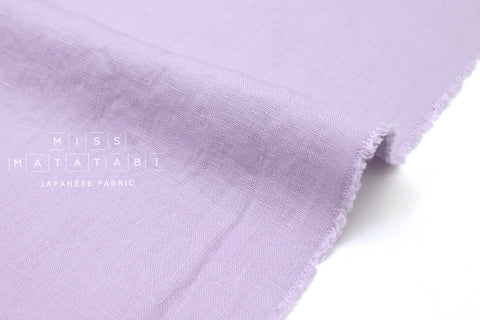 Japanese Fabric 100% washed linen - lilac -  50cm