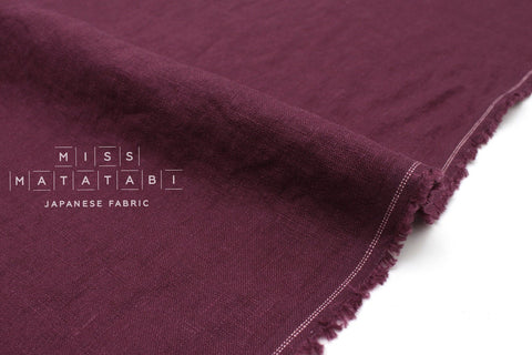 Japanese Fabric 100% washed linen - berry -  50cm