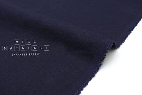Japanese Fabric 100% washed linen - navy blue -  50cm