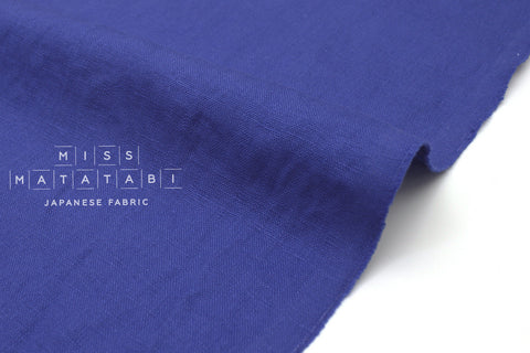 Japanese Fabric 100% washed linen - cobalt blue -  50cm
