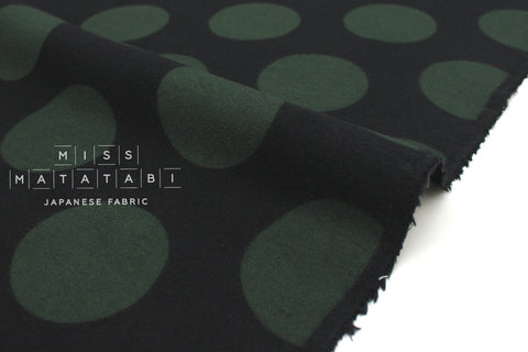 Japanese Fabric Cozy Dots - black, green - 50cm