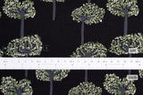 Japanese Fabric Corduroy Trees - black, green - 50cm