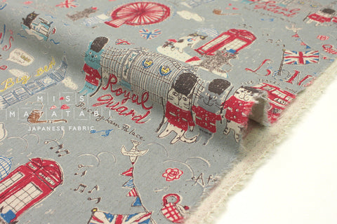 Japanese Fabric Kei Fabric Miyako London Cats - grey, red, blue - fat quarter
