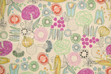 Japanese Fabric Kei Fabric Miyako Veggies - natural, multi - fat quarter