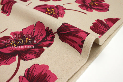 Japanese Fabric Mattina Di Vacanza Bold Flowers II - red, natural - 50cm