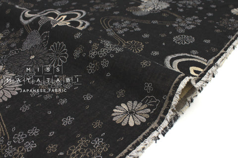 Japanese Fabric Yarn Dyed Jacquard Floral Japan  - black, latte - 50cm