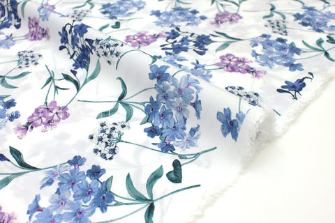 Japanese Fabric Pretty Floral rayon lawn - blue, green, white - 50cm