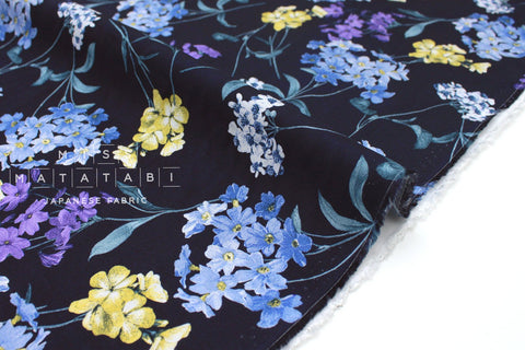 Japanese Fabric Pretty Floral rayon lawn - dark navy blue - 50cm