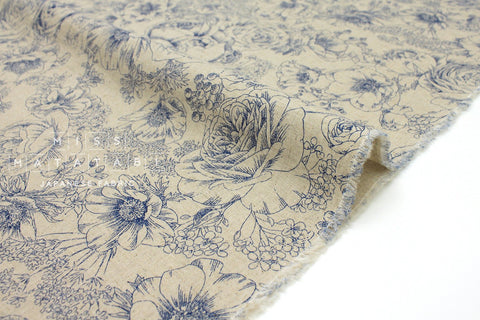 Japanese Fabric Flower Sketches - blue - 50cm