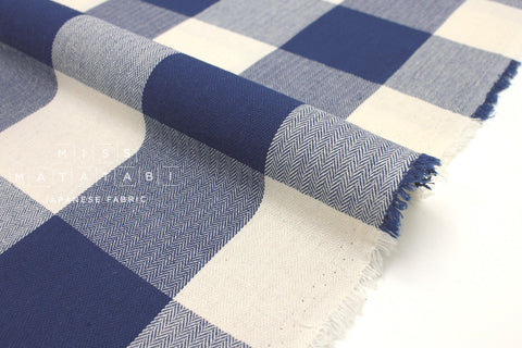 Japanese Fabric Yarn Dyed Herringbone Buffalo Check - blue, cream - 50cm