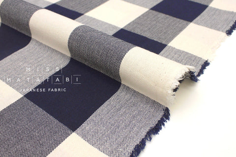 Japanese Fabric Yarn Dyed Herringbone Buffalo Check - navy, cream - 50cm