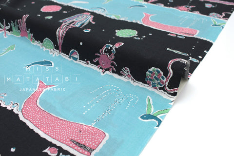 Japanese Fabric Under The Sea Lawn - charcoal black, blue, pink - 50cm