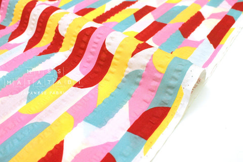 Japanese Fabric Ripple Seersucker Lawn - pink, yellow, red - 50cm