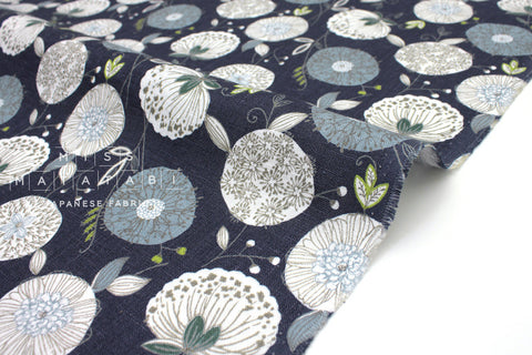 Japanese Fabric 100% Linen Summer Floral - dark blue - 50cm
