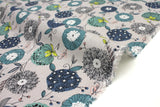 Japanese Fabric 100% Linen Summer Floral - grey - 50cm