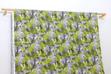 Japanese Fabric 100% Linen Forest Town - chartreuse - 50cm