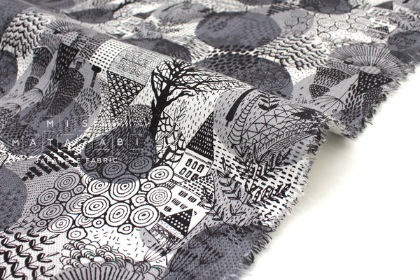 Japanese Fabric 100% Linen Forest Town - grey - 50cm